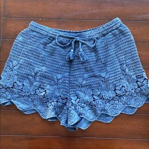 Abercrombie and Fitch Blue Crochet Shorts - Size L